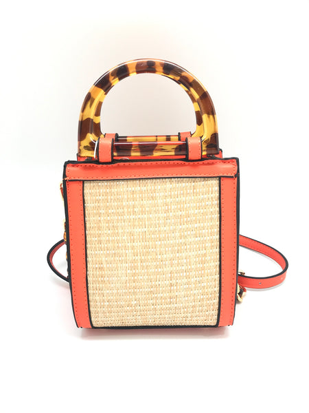 Straw And Tortoise Crossbody