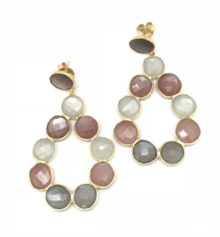 Multi Colored Moonstone Statement Earring