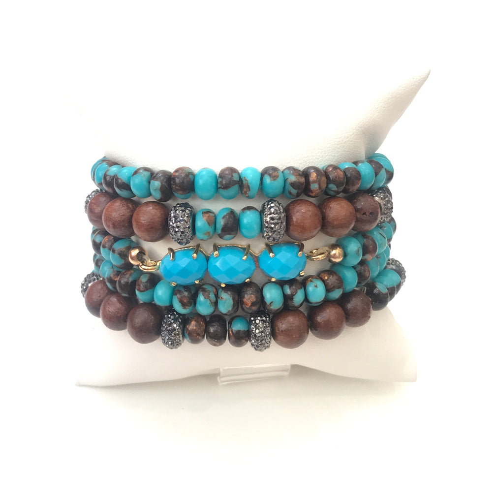 Small Turquoise And Wood Bracelet Set