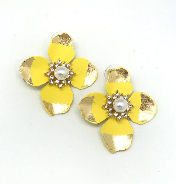 Gold Dipped Flower Earrings