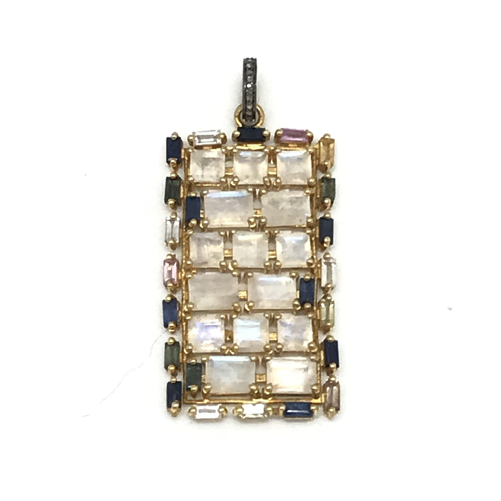 Moonstone and Sapphire Rectangle Pendant