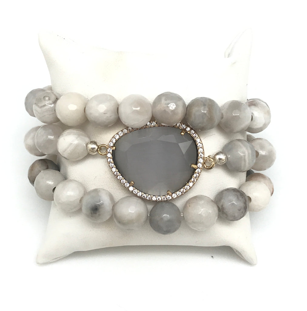 White Agate Bracelet Set