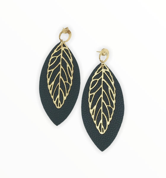 Large Leather Leaf Earring