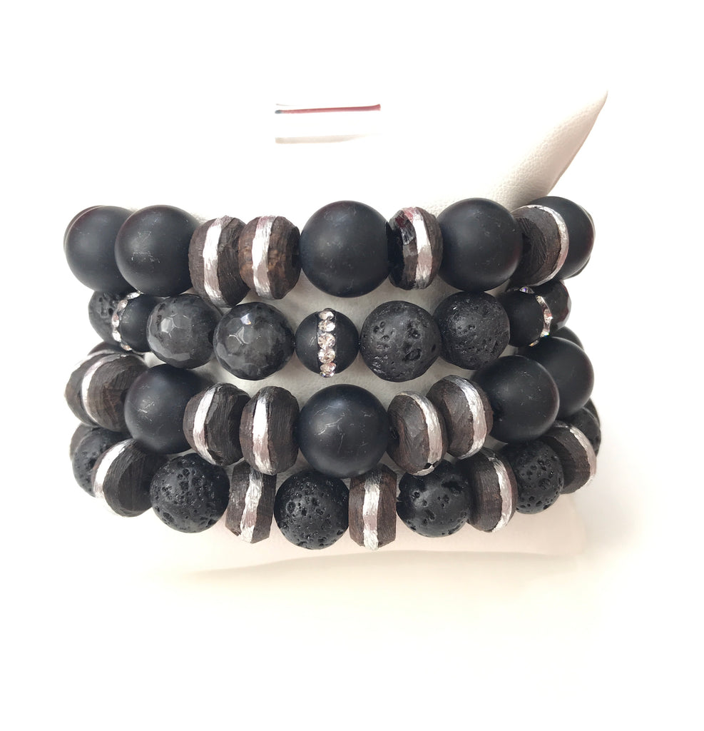 Black Lava Bracelet Set