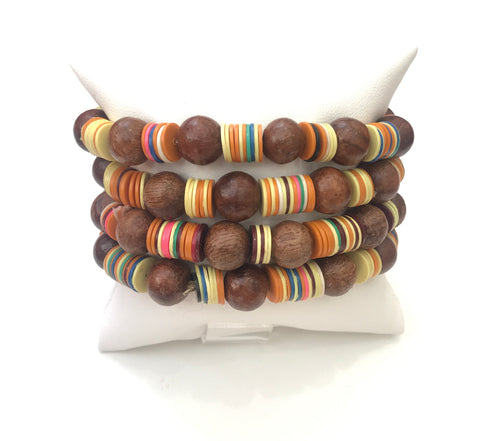 Colorful Wood Bracelet Set