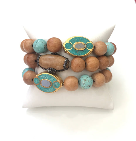 Light Wood And Turquoise Bracelet Set
