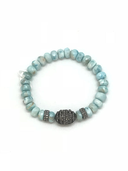 Larimar, Pearl  and Diamond Bracelet Collection