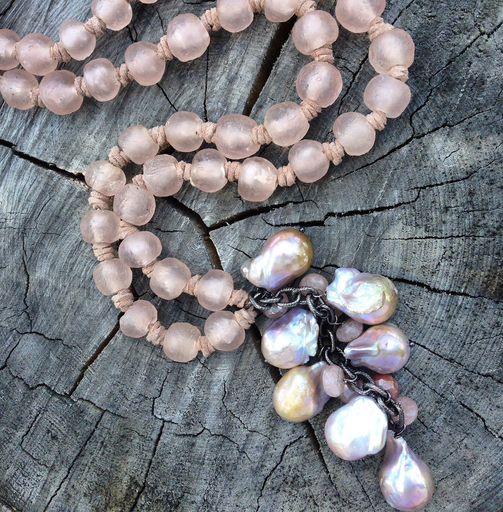Blush Sea Glass and Baroque Pearl