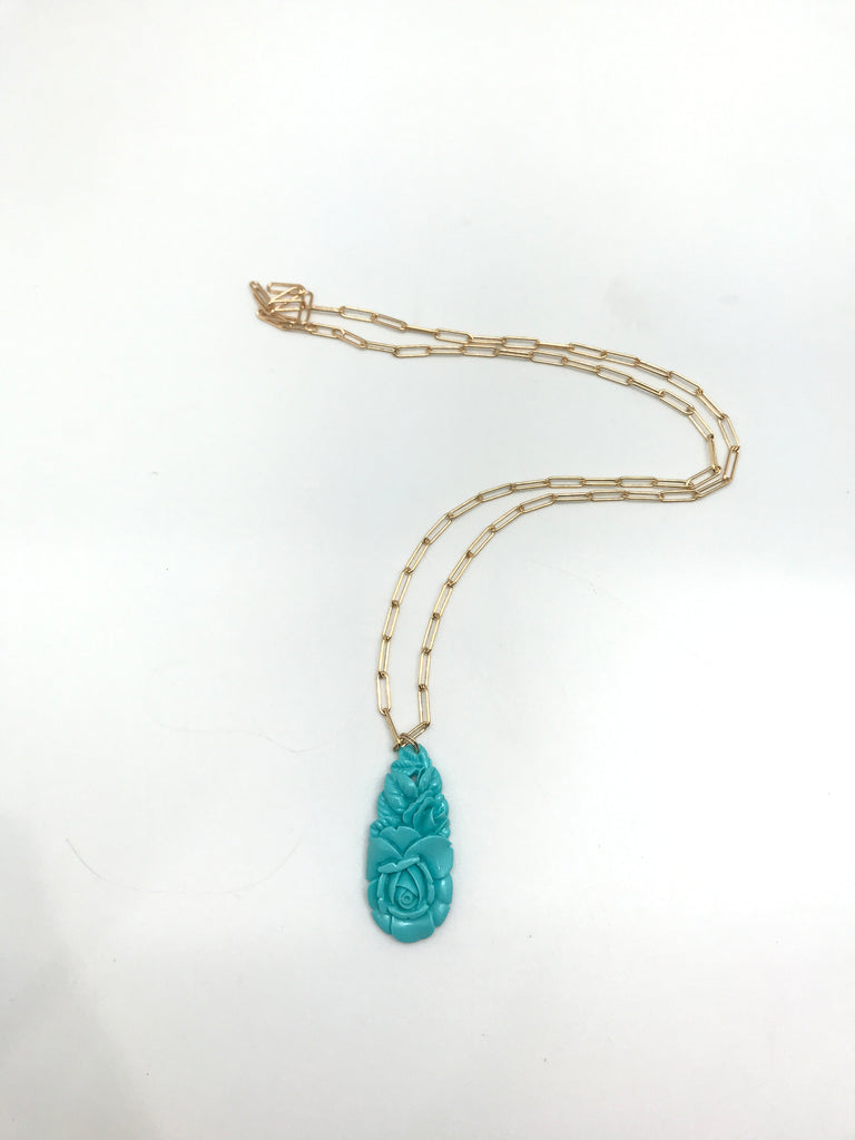 Long Turquoise Pendant Necklace