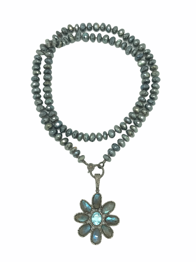 Laboradite Necklace And Diamond Flower Pendant