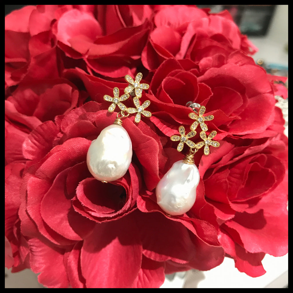 Baroque Pearl and Flower Topper Earring