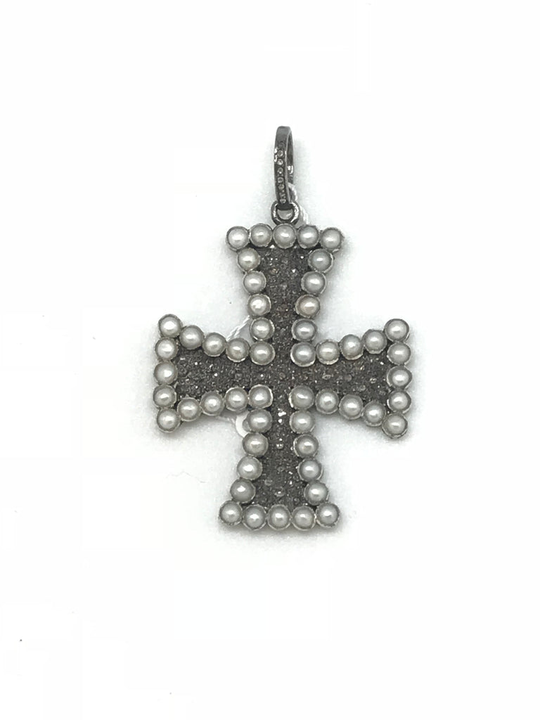 Pearl and Diamond Cross Pendant