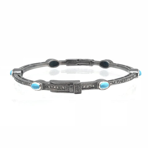 Diamond and Turquoise Skinny Bangle