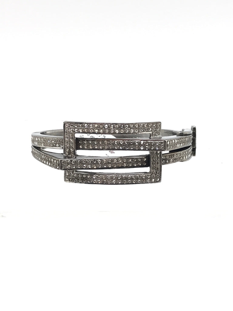 Wide Criss Cross Diamond Bracelet