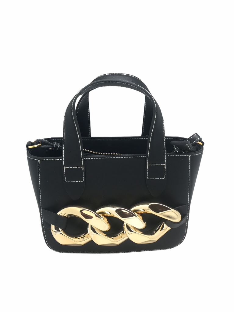 Leather With Statement Chain Handbag