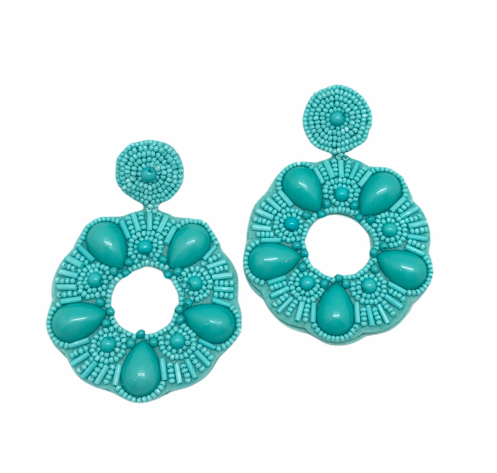 Turquoise Beaded Statement Earring