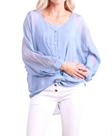 Layered Silk Long Sleeve Blouse