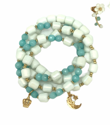 White And Blue Bracelet Set