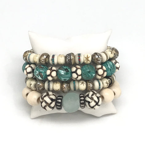 Carved Bone And Green Bracelet Set