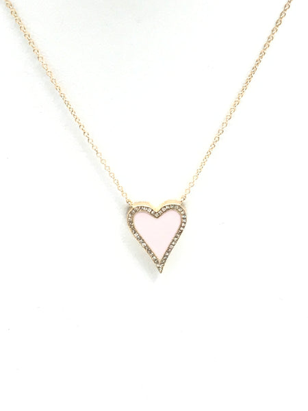 Reversible Enamel And Diamond Heart Necklace