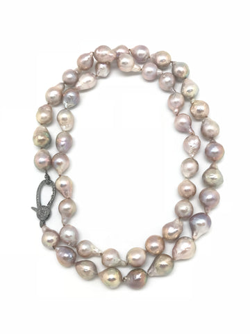 Long Pink Pearl with Diamond Clasp Necklace