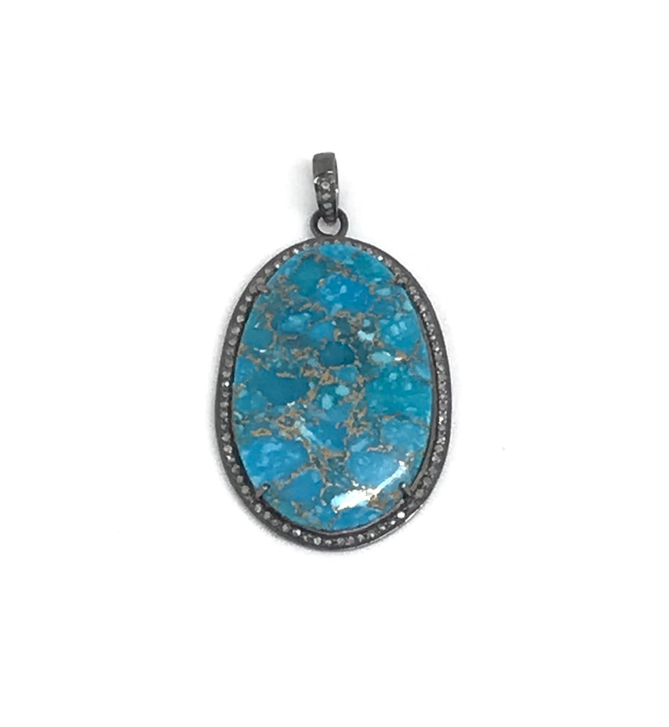 Turquoise and Copper Diamond Pendant