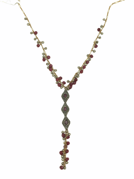 Layered Ruby And Diamond Necklace