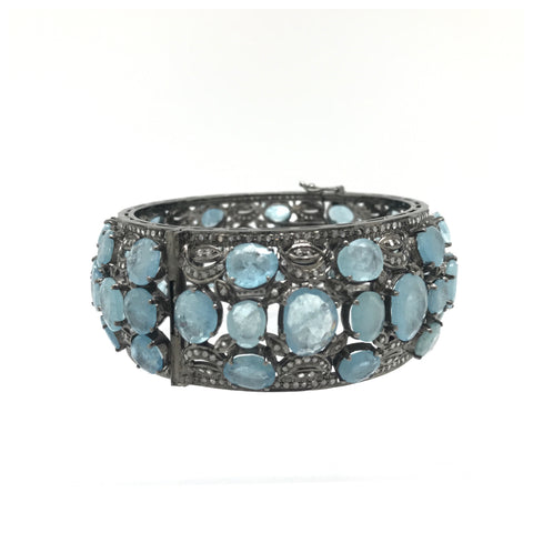 Aqua Marine Diamond Bangle