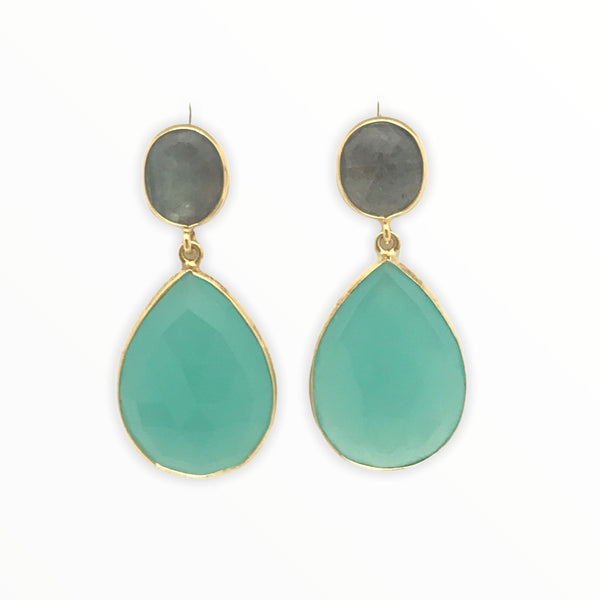 Chalcedony And Laboradite Drop Earring