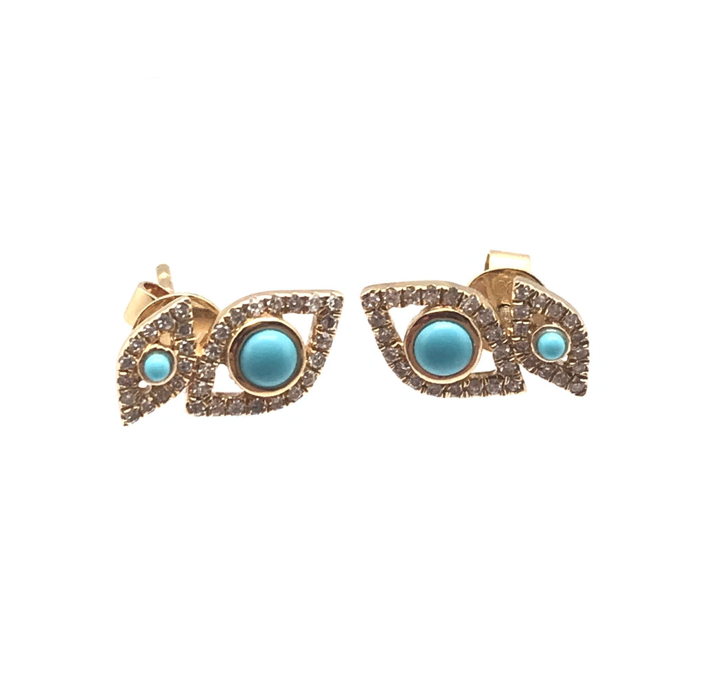 Evil Eye And Turquoise 14 K Earrings