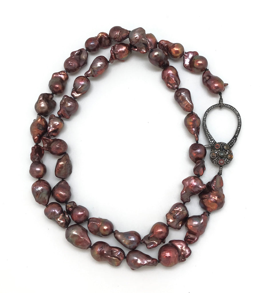 Brown Baroque Pearls And Diamond Clasp