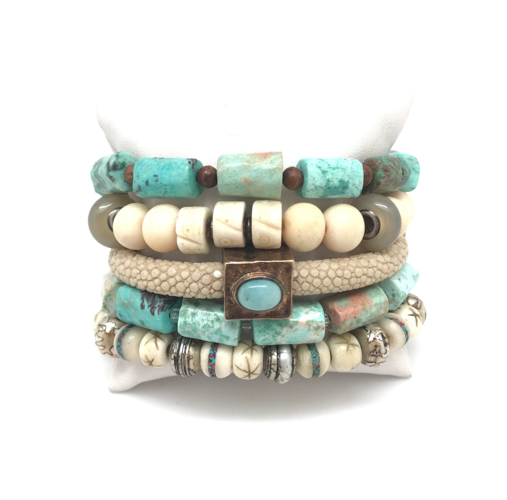 Bone And Turquoise Bracelet Set
