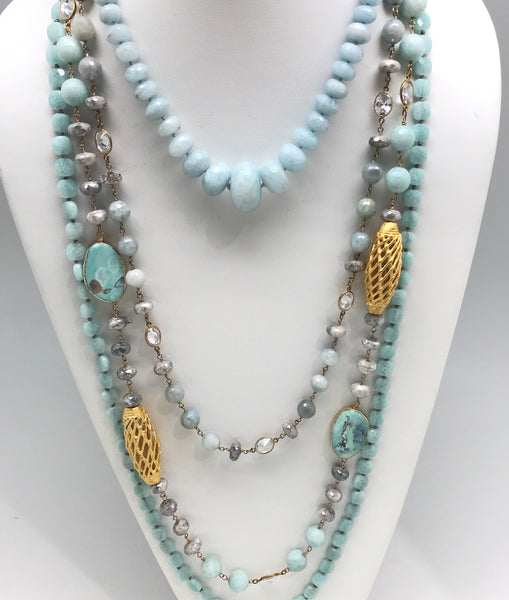 Light Blue Layering Necklaces
