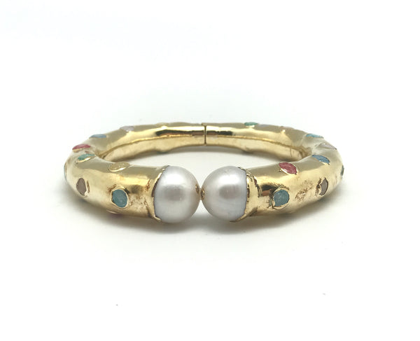 Pearl And Sapphire Clamper Bracelet