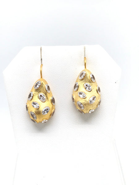 Gold Nugget Earrings With Gemstones