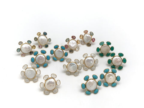 Coin Pearl And Gemstone Stud Earrings