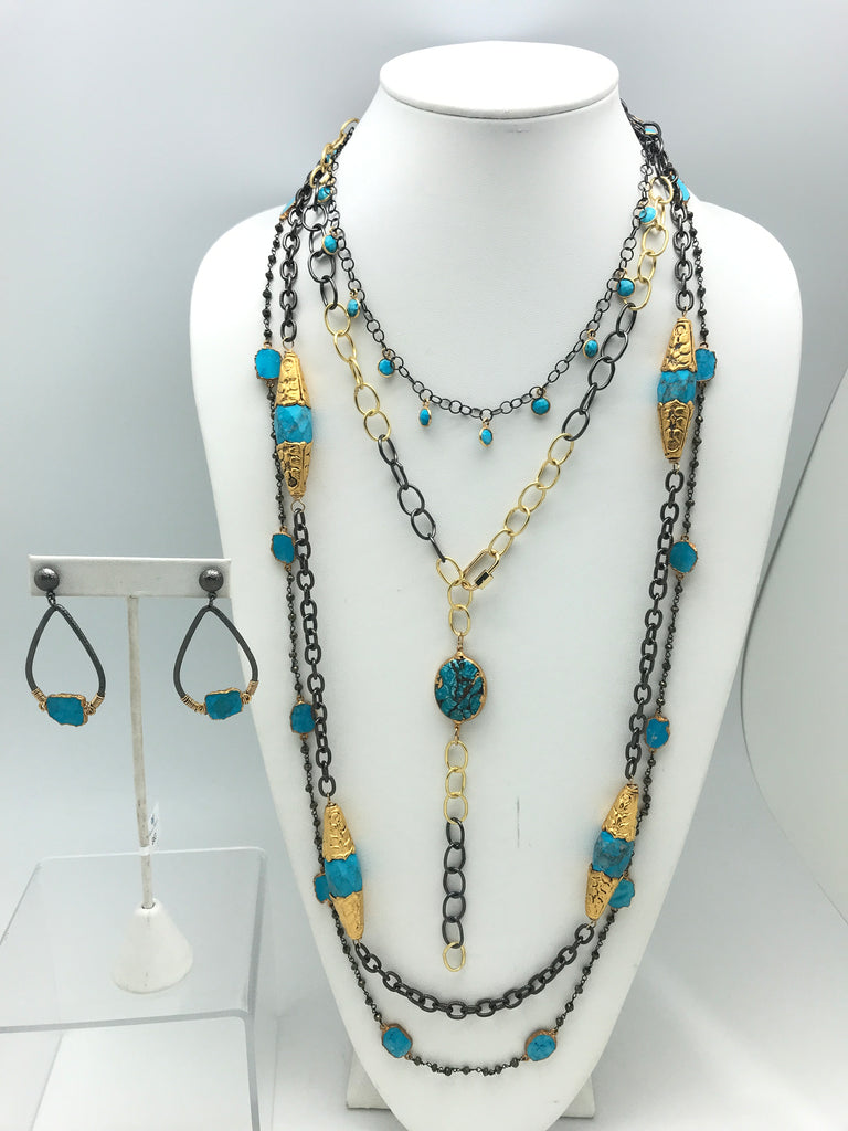 Mixed Metal Turquoise Set
