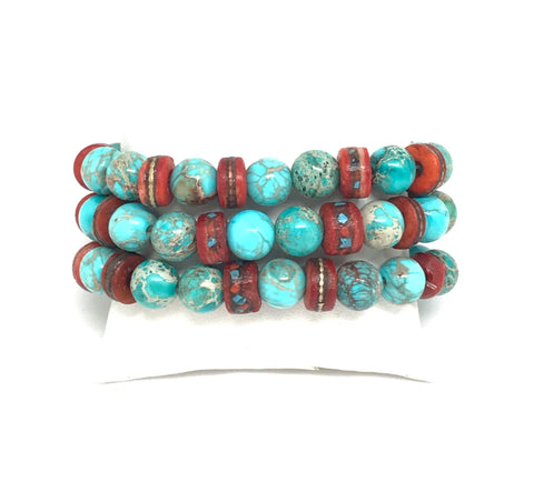 Turquoise And Red Bracelet Set