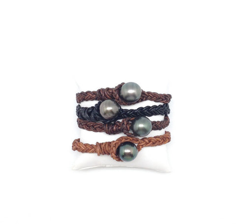 Tahitian and Leather Bracelet