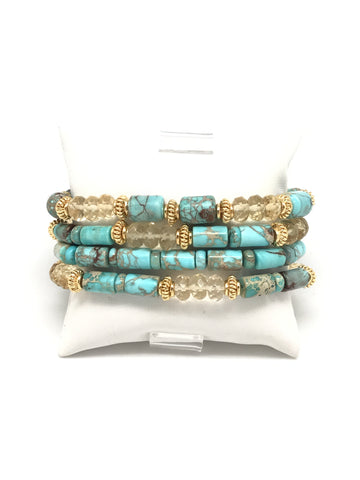 Turquoise And Citrine Bracelet Set