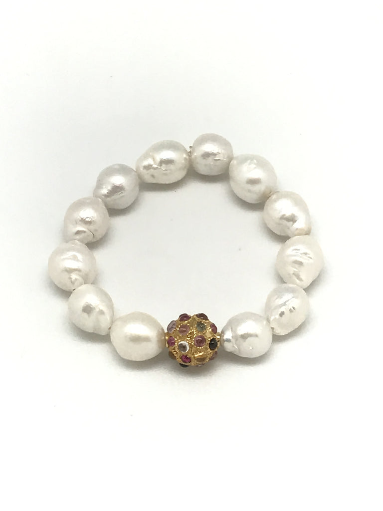 Baroque Pearl and Tourmaline Bracelet