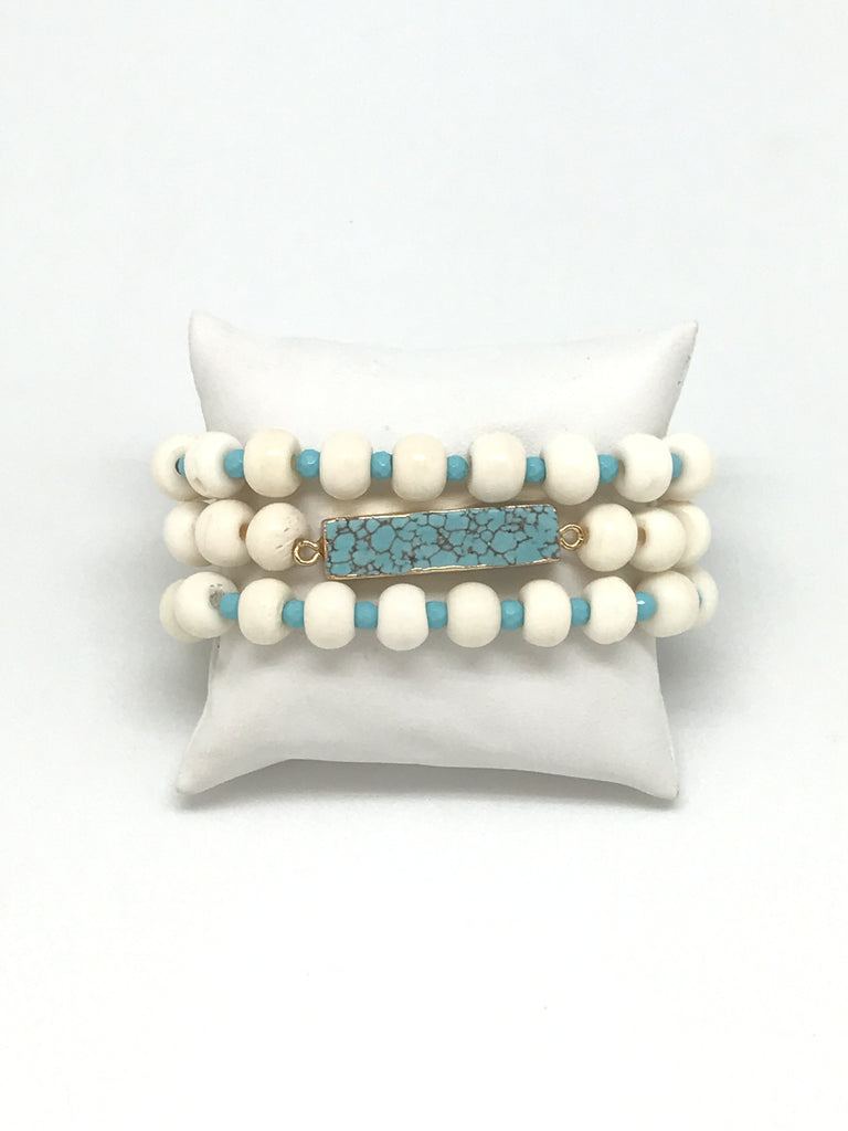 Turquoise And Bone Bracelet Set