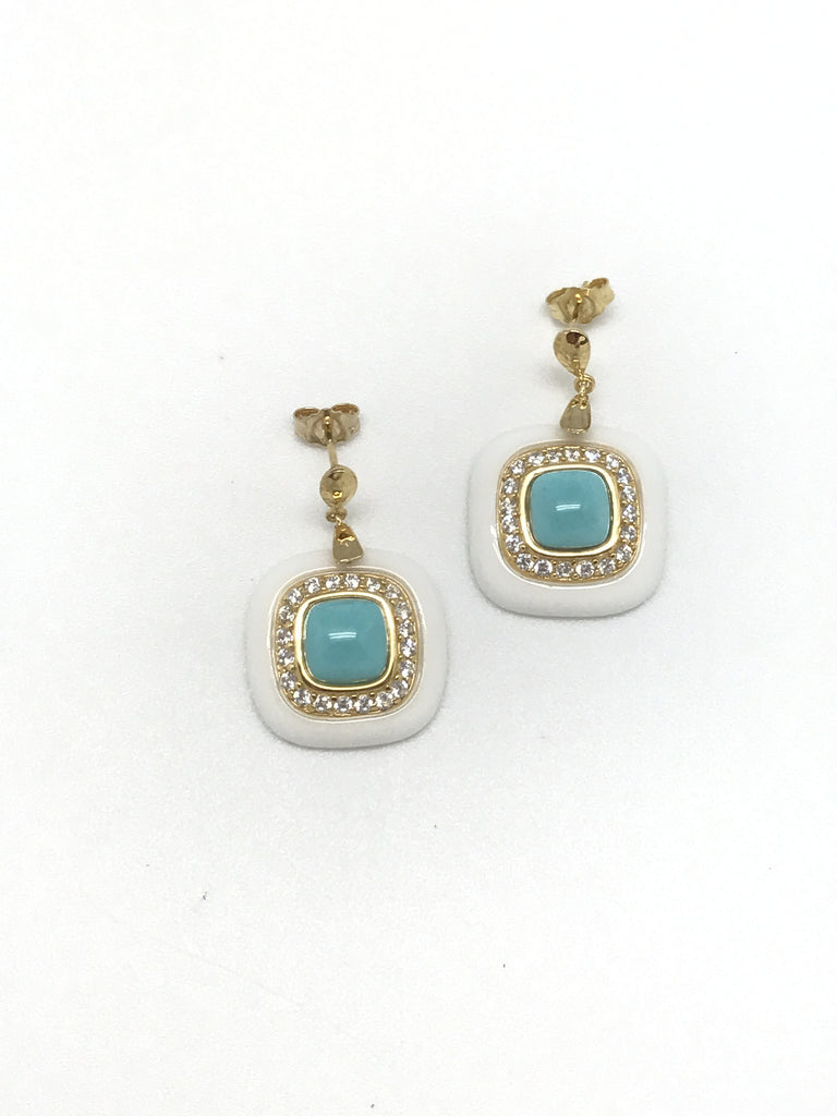 Turquoise and White Earring