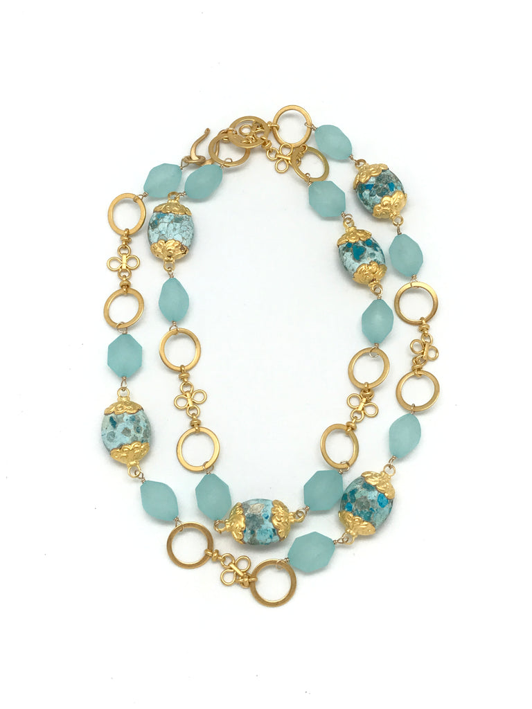 Spotted Turquoise and Gold Necklace
