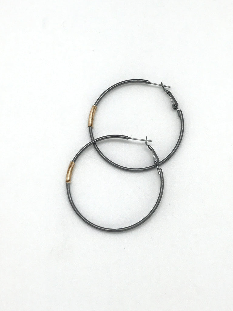 Gold Wire Wraped Oxidized Hoop