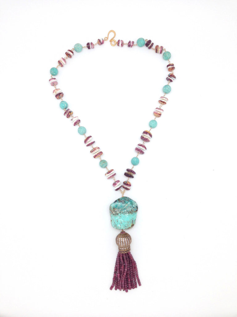 Ruby and Turquoise Tassel Necklace