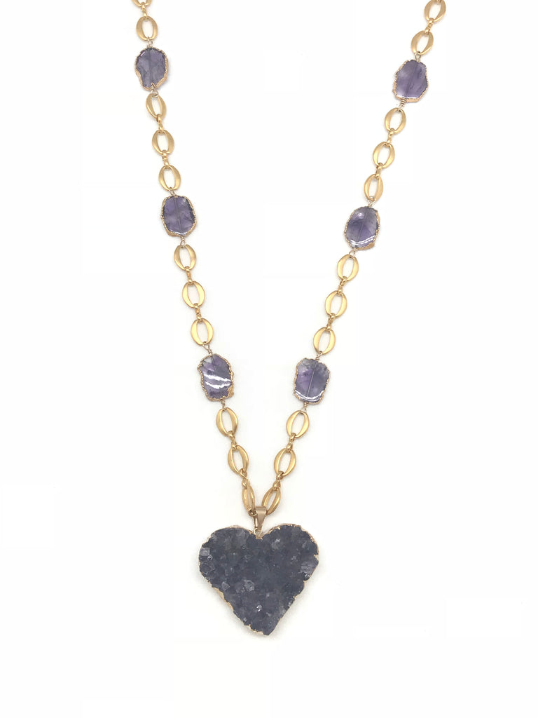 Amethyst Heart Geode Necklace