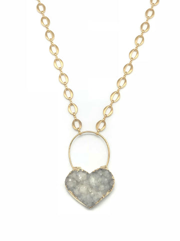 White Druzy Heart Necklace