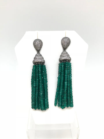 Green Onyx Tassel Earring
