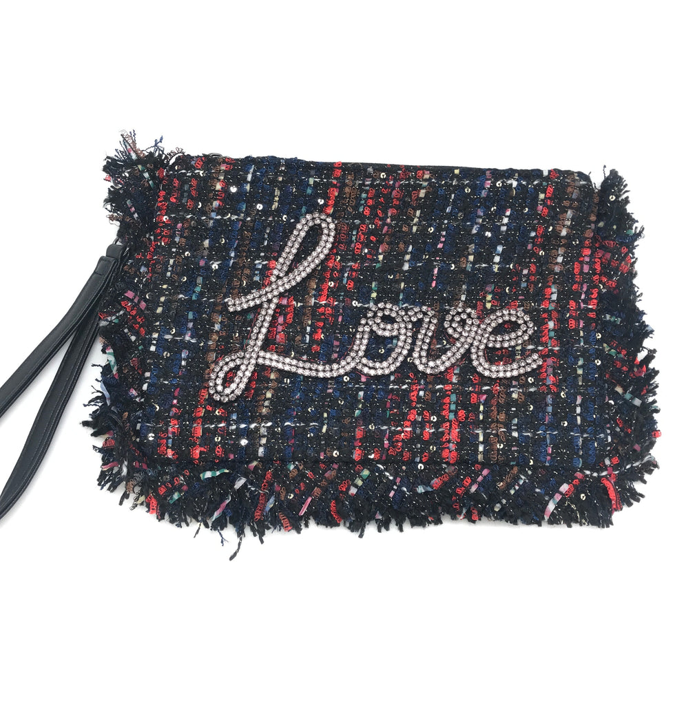 Tweed LOVE Wristlet